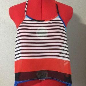 4/$25 Cute sheer striped crop top size medium